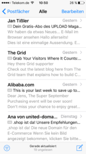 Screenshot iPhone Mail Beispiel E-Mail Betreffzeile