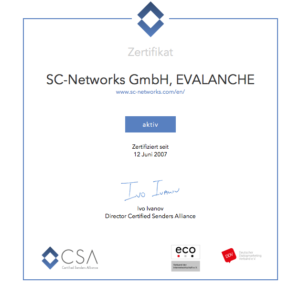 Zertifikat Certified Senders Alliance (CSA)