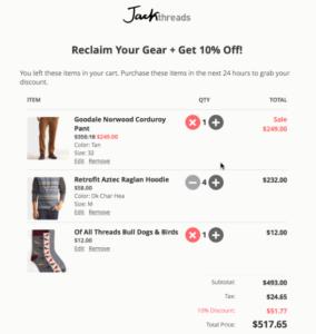 Warenkorb in einer interaktiven E-Mail