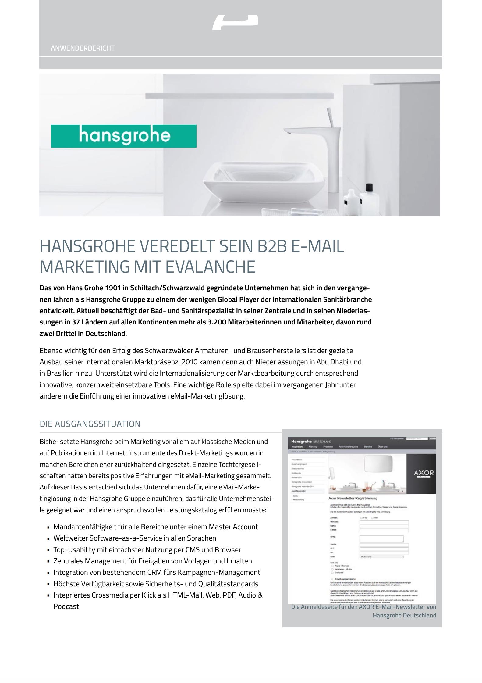 Email Marketing Software im Einsatz bei hansgrohe