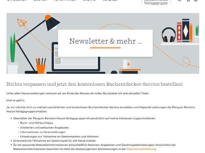 Der Buchentdecker-Service ist das hochpersonalisierte Newsletter-Angebot der Verlagsgruppe. (Quelle: Penguin Random House)